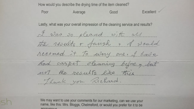 Mrs Harrington testimonial Chelmsford